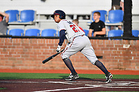 Danville Braves designated hitter Leudys Baez (27) swings at a pitch during a game against the  Johnson City Cardinals at TVA Credit Union Ballpark on July 23, 2017 in Johnson City, Tennessee. The Cardinals defeated the Braves 8-5. (Tony Farlow/Four Seam Images)