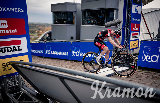 Eli Iserbyt (BEL/Pauwels Sauzen-Bingoal) crossing the finish line exhausted<br /> <br /> Koppenbergcross 2020 (BEL)<br /> <br /> ©kramon
