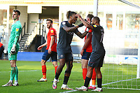 31st October 2020; Kenilworth Road, Luton, Bedfordshire, England; English Football League Championship Football, Luton Town versus Brentford; Ivan Toney of Brentford celebrates his goal with Bryan Mbeumo for 0-2 in the 29th minute