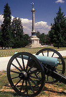 AJ2697, Gettysburg, battlefield, cannon, battle, cemetery, Pennsylvania, Cannon near the New York State Monument in Gettysburg National Cemetery at Gettysburg National Military Park in Gettysburg in the state of Pennsylvania.