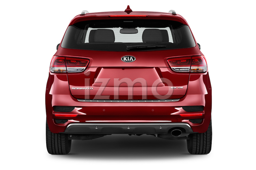 Straight rear view of a 2016 KIA Sorento SX AT 5 Door SUV Rear View  stock images