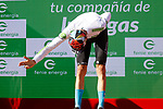 Gino Mäder (SUI) Bahrain Victorious takes over the young riders White Jersey at the end of Stage 20 of La Vuelta d'Espana 2021, running 202.2km from Sanxenxo to Mos, Spain. 4th September 2021.    <br /> Picture: Luis Angel Gomez/Photogomezsport | Cyclefile<br /> <br /> All photos usage must carry mandatory copyright credit (© Cyclefile | Luis Angel Gomez/Photogomezsport)