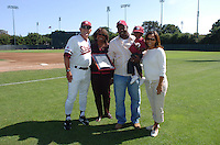 6 May 2006: Mark Marquess (left), Jeffrey Hammonds, and the Hammonds' family during Stanford's 5-1 loss against California Golden Bears at Sunken Diamond in Stanford, CA. Stanford Baseball announced its All-Time Starting 9 during a pre-game ceremony. The nine players selected for the team, chosen by the fans, represent the best of the first 30 years of the distinguished career of the Stanford head coach.