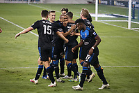 SAN JOSE, CA - OCTOBER 07: Paul Marie #33 of San Jose Earthquakes celebrates scoring a goal with teammates during a game between Vancouver Whitecaps and San Jose Earthquakes at Earthquakes Stadium on October 07, 2020 in San Jose, California.