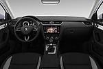 Stock photo of straight dashboard view of a 2017 Skoda Octavia Ambition 5 Door Hatchback