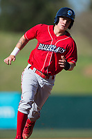 Mickey Moniak (22) of the Lakewood BlueClaws rounds third base during the game against the Kannapolis Intimidators at Kannapolis Intimidators Stadium on April 9, 2017 in Kannapolis, North Carolina.  The BlueClaws defeated the Intimidators 7-1.  (Brian Westerholt/Four Seam Images)