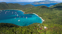 Maho Bay with America Hill Ruins in the foreground<br /> St. John<br /> US Virgin Islands