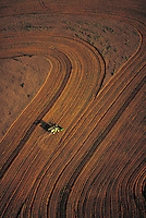 Aerial of a farmer cultivating a field.