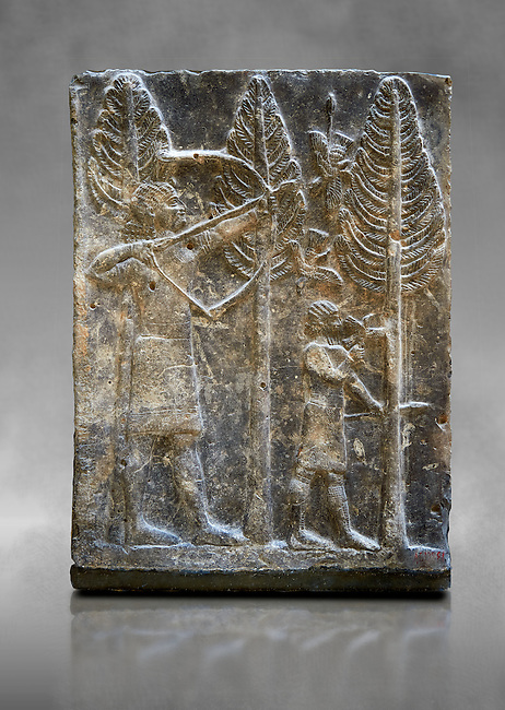 Stone relief sculptured panel of a a bird hunt. Inv AO 19886 from Dur Sharrukin the palace of Assyrian king Sargon II at Khorsabad, 713-706 BC.  Louvre Museum Room 4 , Paris