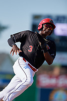 Batavia Muckdogs shortstop Demetrius Sims (3) runs the bases during a game against the West Virginia Black Bears on July 1, 2018 at Dwyer Stadium in Batavia, New York.  Batavia defeated West Virginia 8-4.  (Mike Janes/Four Seam Images)