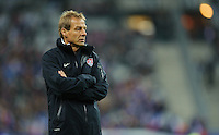 Jurgen Klinsmann, coach of team USA, reacts during the friendly match France against USA at the Stade de France in Paris, France on November 11th, 2011.