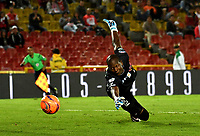 BOGOTA - COLOMBIA - 13 - 05 - 2017: Wilder Mosquera, portero de Jaguares F. C., durante partido de la fecha 18 entre Independiente Santa Fe y Jaguares F. C., por la Liga Aguila I-2017, en el estadio Nemesio Camacho El Campin de la ciudad de Bogota. / Wilder Mosquera, goalkeeper of Jaguares F. C., during a match of the date 18th between Independiente Santa Fe and Jaguares F. C., for the Liga Aguila I -2017 at the Nemesio Camacho El Campin Stadium in Bogota city, Photo: VizzorImage / Luis Ramirez / Staff.