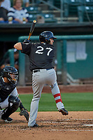 Austin Allen (27) of the El Paso Chihuahuas at bat against the Salt Lake Bees at Smith's Ballpark on August 17, 2019 in Salt Lake City, Utah. The Bees defeated the Chihuahuas 5-4. (Stephen Smith/Four Seam Images)