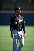 Modesto Nuts left fielder Ariel Sandoval (15) before a California League game against the Inland Empire 66ers on April 10, 2019 at San Manuel Stadium in San Bernardino, California. Inland Empire defeated Modesto 5-4 in 13 innings. (Zachary Lucy/Four Seam Images)