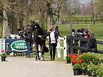 April 21, 2021: 2 Grappa Nera and rider Jonelle Price from New Zealand  in the first horse veterinary inspection at the Land Rover Three Day Event at the Kentucky Horse Park in Lexington, KY on April 21, 2021.  Candice Chavez/ESW/CSM