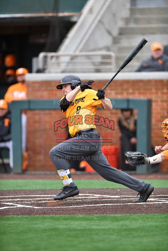 Appalachian State Mountaineers catcher Riley Smith (8) swings at a pitch during a game against the Tennessee Volunteers at Lindsey Nelson Stadium on February 16, 2019 in Knoxville, Tennessee. The Volunteers defeated Mountaineers 2-0. (Tony Farlow/Four Seam Images)