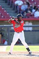 Jabari Henry #5 of the High Desert Mavericks bats against the Modesto Nuts at Heritage Field on June 29, 2014 in Adelanto, California. High Desert defeated Modesto, 6-1. (Larry Goren/Four Seam Images)