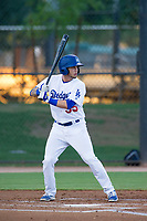 AZL Dodgers shortstop Jacob Amaya (55) at bat against the AZL Brewers on July 25, 2017 at Camelback Ranch in Glendale, Arizona. AZL Dodgers defeated the AZL Brewers 8-3. (Zachary Lucy/Four Seam Images)