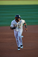 Jo Adell (26) of the Salt Lake Bees hustles to third base against the El Paso Chihuahuas at Smith's Ballpark on August 17, 2019 in Salt Lake City, Utah. The Bees defeated the Chihuahuas 5-4. (Stephen Smith/Four Seam Images)