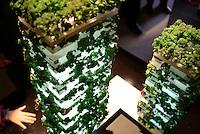"""Milano, modellini dei grattacieli chiamati """"bosco verticale"""" (per via degli alberi che li copriranno) di futura costruzione al quartiere Isola, nell'ambito del progetto di riqualificazione di Porta Nuova --- Milan, small scale models of the skyscrapers called """"Vertical Forest"""" (because of the trees that will cover them) that will be built at the Isola district within the requalification project of the Porta Nuova area"""