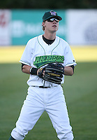Thomas Hickman of the Jamestown Jammers, Class-A affiliate of the Florida Marlins, during New York-Penn League baseball action.  Photo by Mike Janes/Four Seam Images