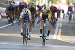 Wout Van Aert (BEL) Team Jumbo-Visma wins the 111th edition of Milan- San Remo 2020 with Julian Alaphilippe (FRA) Deceuninck-Quick Step 2nd, running 305km from Milan to San Remo, Italy. 8th August 2020.<br /> Picture: Stefano Sirotti | Cyclefile<br /> <br /> All photos usage must carry mandatory copyright credit (© Cyclefile | Stefano Sirotti)