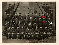 BNPS.co.uk (01202 558833)<br /> Pic: Lockdales/BNPS<br /> <br /> Pictured: John Cornford, circled, pictured in a New Cross London Fire Brigade Drill Class in August 1920. <br /> <br /> The bravery medal awarded to a hero Blitz firefighter who 'ran through a wall of flames' during a dramatic rescue has emerged for sale for £4,000.<br /> <br /> Company Officer John Cornford and his station officer risked their lives to save a man collapsed on a pavement between blazing street warehouses.<br /> <br /> They dodged falling debris to carry the injured man to safety following the German bombing of London.<br /> <br /> C/Off Cornford, of the London County Council Fire Brigade, received the George Medal for gallantry for his life-saving exploits during the December 29, 1940 incident.