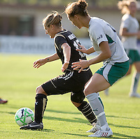 Tiffany Milbrett (left) keeps the ball away from Niki Cross (right). FC Gold Pride tied the St. Louis Athletica 1-1 at Buck Shaw Stadium in Santa Clara, California on August 9, 2009.