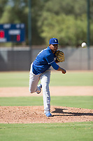 Los Angeles Dodgers relief pitcher Guillermo Zuniga (29) follows through on his delivery during an Instructional League game against the Milwaukee Brewers at Maryvale Baseball Park on September 24, 2018 in Phoenix, Arizona. (Zachary Lucy/Four Seam Images)
