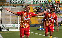 BOGOTÁ - COLOMBIA, 09-02-2020:Mateo Cano del Deportivo Pereira celebra después de anotar un  gol de su equipo partido entre La Equidad y Deportivo Pereira por la fecha 4 de la Liga BetPlay I 2020 jugado en el estadio Metropolitano de Techo de la ciudad de Bogotá. / Mateo Cano of Deportivo Pereira celebrates after scoring the first goal of his team during match between La Equidad and Deportivo Pereira  for the date 4 as part of BetPlay League I 2020 played at Metroplitano de Techo stadium in Bogota. Photo: VizzorImage / Felipe Caicedo / Staff