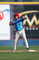 Spokane Indians second baseman Cristian Inoa (4) celebrates after hitting a double during a Northwest League game against the Vancouver Canadians at Avista Stadium on September 2, 2018 in Spokane, Washington. The Spokane Indians defeated the Vancouver Canadians by a score of 3-1. (Zachary Lucy/Four Seam Images)