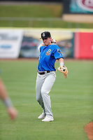 Biloxi Shuckers infielder Cam Devanney (33) warms up prior to the game against the Tennessee Smokies on May 18, 2021, at Smokies Stadium in Kodak, Tennessee. (Danny Parker/Four Seam Images)