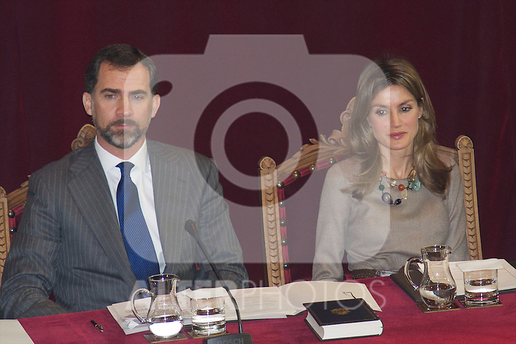 Prince Felipe and Princess Letizia attend the Presentation of the Spanish Language Spelling at Real Academia Espan?ola in Madrid..Photo: Billy Chappel / ALFAQUI.