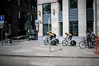 Team Jumbo-Visma returning to the start through Brussels after the morning course reconnaissance > using the sidewalks as the Brussels cobbles are a bit too rough for the TT bikes<br /> <br /> Stage 2 (TTT): Brussels to Brussels(BEL/28km) <br /> 106th Tour de France 2019 (2.UWT)<br /> <br /> ©kramon