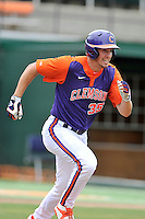Senior outfielder Mike Triller (35) of the Clemson Tigers in a fall practice intra-squad Orange-Purple scrimmage on Saturday, September 26, 2015, at Doug Kingsmore Stadium in Clemson, South Carolina. (Tom Priddy/Four Seam Images)
