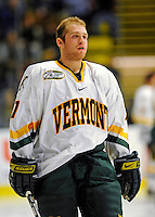 16 November 2008: University of Vermont Catamount forward Justin Milo, a Sophomore from Edina, MN, awaits the start of play against the visiting Merrimack College Warriors at Gutterson Fieldhouse, in Burlington, Vermont. The Catamounts defeated the Warriors 2-1 in front of a near-capacity crowd of 3,813...Mandatory Photo Credit: Ed Wolfstein Photo