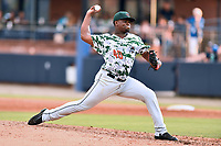 Augusta GreenJackets starting pitcher Raffi Vizcaino (40) delivers a pitch during a game against the Asheville Tourists at McCormick Field on July 16, 2017 in Asheville, North Carolina. The Tourists defeated the GreenJackets 12-3. (Tony Farlow/Four Seam Images)