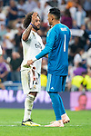 Real Madrid Marcelo and Keylor Navas during UEFA Champions League match between Real Madrid and A.S.Roma at Santiago Bernabeu Stadium in Madrid, Spain. September 19, 2018. (ALTERPHOTOS/Borja B.Hojas)