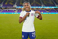 ORLANDO, FL - JANUARY 18: Catarina Macario #29 of the United States celebrates a USA victory during a game between Colombia and USWNT at Exploria Stadium on January 18, 2021 in Orlando, Florida.