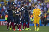 Hugo Lloris of France looks dejected along with his team mates