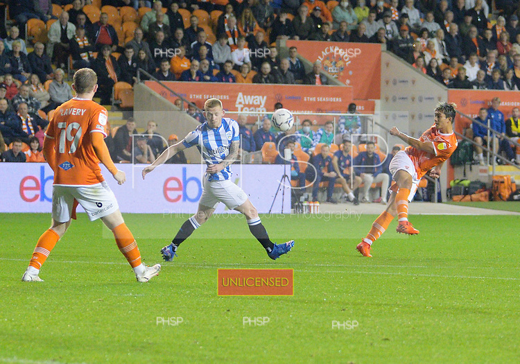 14/09/2021 Sky Bet Championship Blackpool v Huddersfield Town  <br /> <br /> Kenny Dougall shoots over