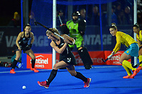 NZ's Katie Doar shoots for goal during the Sentinel Homes Trans Tasman Series hockey match between the New Zealand Black Sticks Women and the Australian Hockeyroos at Massey University Hockey Turf in Palmerston North, New Zealand on Tuesday, 1 June 2021. Photo: Dave Lintott / lintottphoto.co.nz
