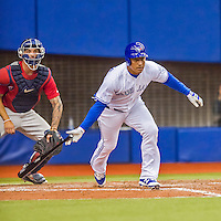 1 April 2016: Toronto Blue Jays outfielder Ezequiel Carrera in action during a pre-season exhibition series against the Boston Red Sox at Olympic Stadium in Montreal, Quebec, Canada. The Red Sox defeated the Blue Jays 4-2 in the first of two MLB weekend games, which saw an attendance of 52,682 at the former home on the Montreal Expos. Mandatory Credit: Ed Wolfstein Photo *** RAW (NEF) Image File Available ***