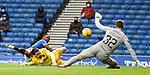 25.10.2020 Rangers v Livingston: Keeper Max Stryjek makes an early save from Jermain Defoe