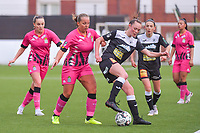 Renate-Ly Mehevets (15) of Sporting Charleroi , Megane Vos (20) of Sporting Charleroi , Loes Van Mullem (33) of Eendracht Aalst , Anke Vanhooren (7) of Eendracht Aalst , Jessica Silva Valdebenito (18) of Sporting Charleroi pictured during a female soccer game between Sporting Charleroi and Eendracht Aalst on the 8th matchday in play off 2 of the 2020 - 2021 season of Belgian Scooore Womens Super League , tuesday 18 th of May 2021 in Marcinelle , Belgium . PHOTO SPORTPIX.BE   SPP   STIJN AUDOOREN