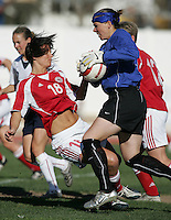 MAR 11, 2006: Quarteira, Portugal:  USWNT goalkeeper (1) Jenni Branam collides with Denmark forward (18) Maiken Pape in the Algarve Cup in Quarteira, Portugal.