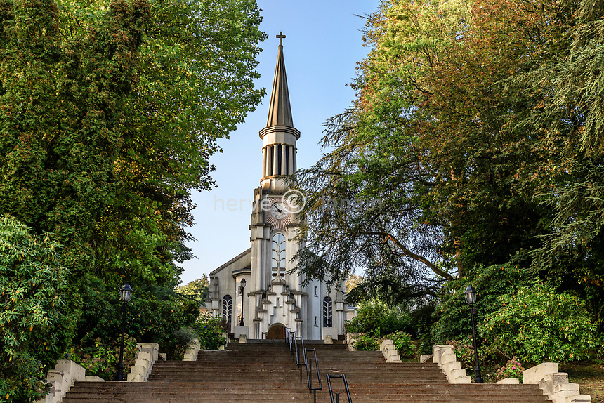 France, Orne, Bagnoles de l'Orne, Sacre Coeur church in Art Deco style // France, Orne (61), Bagnoles-de-l'Orne, église du Sacré-Coeur de style Art déco
