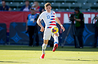CARSON, CA - FEBRUARY 1: Sam Vines #13 of the United States traps a ball during a game between Costa Rica and USMNT at Dignity Health Sports Park on February 1, 2020 in Carson, California.