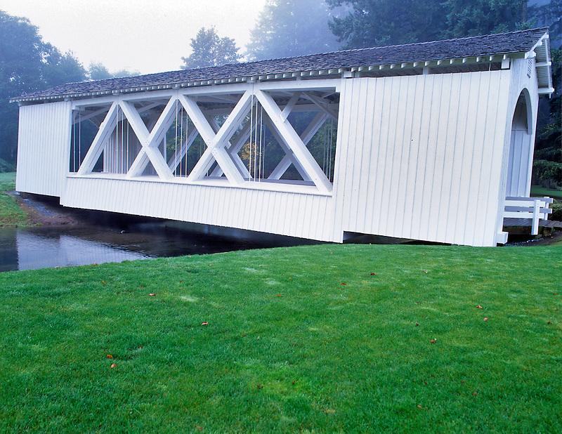 Stayton - Jordon Bridge with grass. Linn County, Oregon