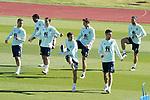 Spain's Sergio Canales, Adama Traore, Mikel Oyarzabal, Pau Torres, Sergi Roberto, Sergio Busquets and Mikel Merino during training session. October 6,2020.(ALTERPHOTOS/Acero)